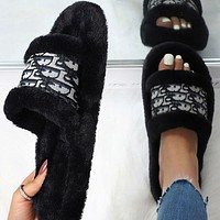 Dior hot new product plush embroidery letters ladies slippers sandals Shoes-1