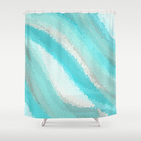 Calyspso Cool Mosaic fabric Shower curtain -  Teal, Aqua, blue, ocean, waves, island, travel,  sea, art, coastal decor, bath, home