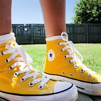 """Converse"" Fashion Canvas Flats Sneakers Sport Shoes High tops Yellow"