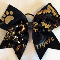 """The TIGER PAW - 1/2 Black & Gold Reversible Sequin and 1/2 Black Mystique with Paw Print and """"Tigers"""" Cheer Bow"""