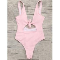Fashion fresh women pink chest knot holes one piece bikini show thin