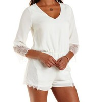 Ivory Lace-Trim Chiffon Romper by Charlotte Russe