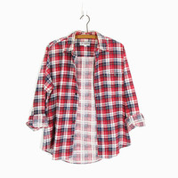 Vintage Flannel Shirt, Red Navy & White Plaid Flannel, 90s Grunge, Soft Flannel, Long Sleeve Button Down -- Mens / Unisex S
