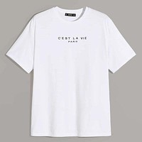 Fashion Casual Men Women Slogan Graphic Top
