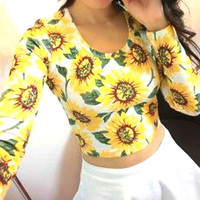 Women Long Sleeve Round Collar Flower Printed Elastic Bandage Sexy Bodycon Crop Top Clubwear Pullover S-XL = 5618498689