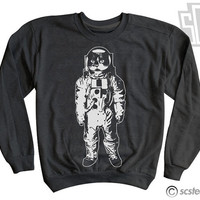 Space Kitty Sweatshirt - Womens Cat Sweater Pullover 126w