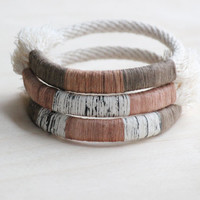 wrapped bangle no. 3 - naturally-dyed cotton yarn and rope bracelet