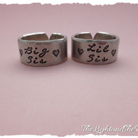 Big Little Sorority Hand Stamped Ring Set  Matching  Big  Little  Sorority Sisters  Keep one gift the other thumb rings
