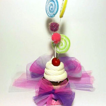 Mini Top Hat, Birthday Hat, Fascinator, Party Hat, Cupcake Hat, Mad Hatter Hat, Pink and Purple Hat