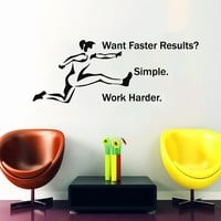 Runner Wall Decal Quote Want Faster Results Simple Work Harder Sport Sticker Hurdler Vinyl Decal Girls Bedroom Design Living Room Decor M790