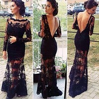 Willtoo(TM) Women Sexy Backless Lace Patchwork Mesh Long Maxi Party Evening Dress (S)