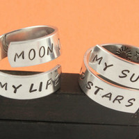 SALE - Moon of My Life My Sun and Stars Ring Set - Couples Rings - Adjustable Aluminum Rings - Handstamped Rings