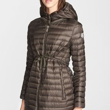 Women's Moncler 'Barbel' Belted Hooded Down Coat