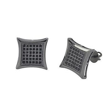 Mens Screwback Earrings .925 Silver Hip Hop Studs Black CZ 11mm Kite