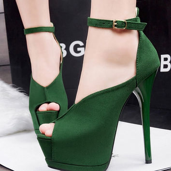 Lovely Style Peep Toe Platform Ankle Strap High Heels