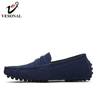 VESONAL Spring Summer Breathable Moccasins Men Loafers Shoes Male Flats Genuine Leather Casual Boat Walking Driver Footwear
