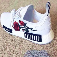 "Embroidery Rose ""Adidas"" Women Running Sport Casual Shoes Sneakers"