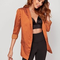 Polka-dot Shawl Collar Pocket Satin Blazer
