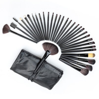 Professional 32pcss  Cosmetic Facial Make up Brush Kit Wool Makeup Brushes Tools Set with Black Leather Case