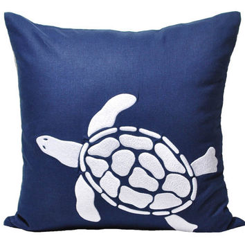 Sea Turtle Pillow Cover, Navy Blue Linen with White Sea Turtle, Decorative Throw Pillow, Pillow Case 18 x 18, Beach Couch Pillow