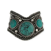 Antique Silver & Turquoise Cuff
