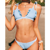 Fashion Sexy Pure Color Falbala Straps Knot Summer Hot Swimsuit Beach