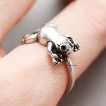 Adjustable Retro Frog Ring / Frog Burnished Ring / Animal Ring / Forgy ring - available color in 2color (Antique silver,Antique gold)