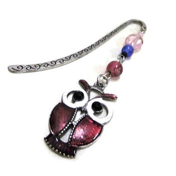 Pink Owl Bookmark, Beaded Bookmark, Pink and Blue Bookmark, Booklovers, Owls, Student Gift, Teachers Gift, Readers Gift, Book Bling