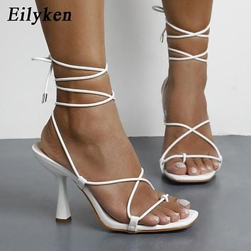 Summer Lace Up Cross-Tied High Heels Sandals