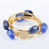 Monogrammed Navy and Pearl Wire and Stone Bangle Set | Bracelets | Marley Lilly