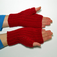 Hand Knit Red Texting Gloves, Fingerless Gloves, Fingerless Mitts, Winter Handwarmers, Valentines Day Gift, Mothers Day Gift, Gift for Her