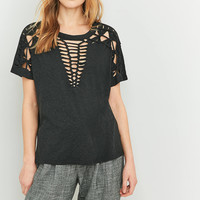 Light Before Dark Macrame Tee | Urban Outfitters