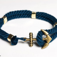 Double band nautical rope bracelet with anchor clasp - Navy