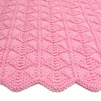 Pink Baby Blanket Hand Knit Baby Blanket Knitted Baby Afghan Blanket