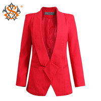 Women Formal 2015 Spring Fashion Model New Arrival Office Coat  Brand Solid Long Sleeve Hidden Breasted Silm Blazer