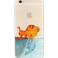 iPhone 6 Case, DECO FAIRY® Protective Case Bumper[Scratch-Resistant] [Perfect Fit] Translucent Silicone Clear Case Gel Cover for Apple iPhone 6 (Cat Kisses Fish iPhone 6 4.7)
