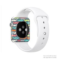 The Colorful Scratched Mustache Pattern Full-Body Skin Set for the Apple Watch
