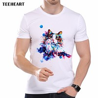 New Men's Lovely Color Pet Cat Printed Designer T-Shirt Summer Modal Animal Graphic Tops Tees