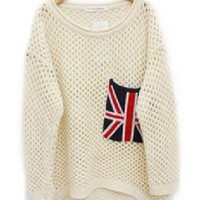 Loose Long Sleeve Flag Pullover Women's Sweater