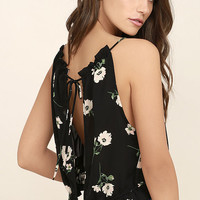 Nostalgia Black Floral Print Crop Top