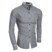 Men's Fashion Strong Character Casual Men Slim Long Sleeve Shirt [10831836035]