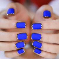 24pcs Matte Blue  Color Fake Nail Tips Noble Gold Line Nail Art Design Artificial Fingernails False Nails