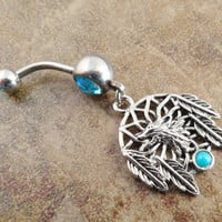 Wolf Dream Catcher Belly Button Jewelry Ring