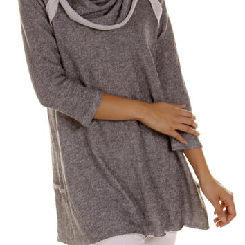 3/4 Sleeve Cowl Neck Tunic Top