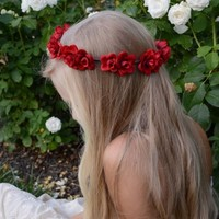 The Rhea Red Rose Flower Crown | Red Rose Infinity Crown | bogatte