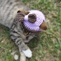 Custom Cat and Dog Hat - Cats and Small Dogs - The Chocolate and Lilac Cat's Hat - Cat Clothing Cat Clothes
