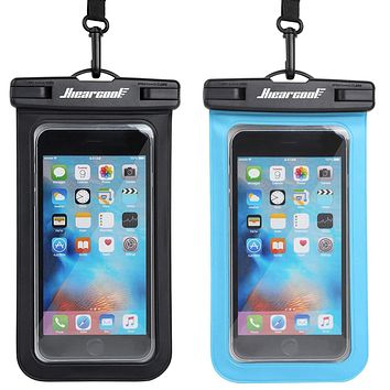 """Hiearcool Universal Waterproof Case,Waterproof Phone Pouch Compatible for iPhone 11 Pro Max XS Max XR X 8 7 6S Plus Samsung Galaxy s10/s9 Google Pixel 2 HTC Up to 7.0"""",IPX8 Cellphone Dry Bag -2 Pack Black&Blue"""