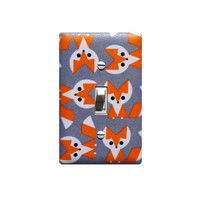 Fox Nursery Decor / Light Switch Plate Cover / Gray and Orange Baby Girl Boy / Gender Neutral Kids Room / Organic Fabric Ed Emberley Cloud 9