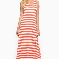 Coral and White Stripe Maxi Dress @ Cicihot sexy dresses,sexy dress,prom dress,summer dress,spring dress,prom gowns,teens dresses,sexy party wear,ball dresses