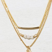 AEO Women's Tiered Charm Necklace (Gold)